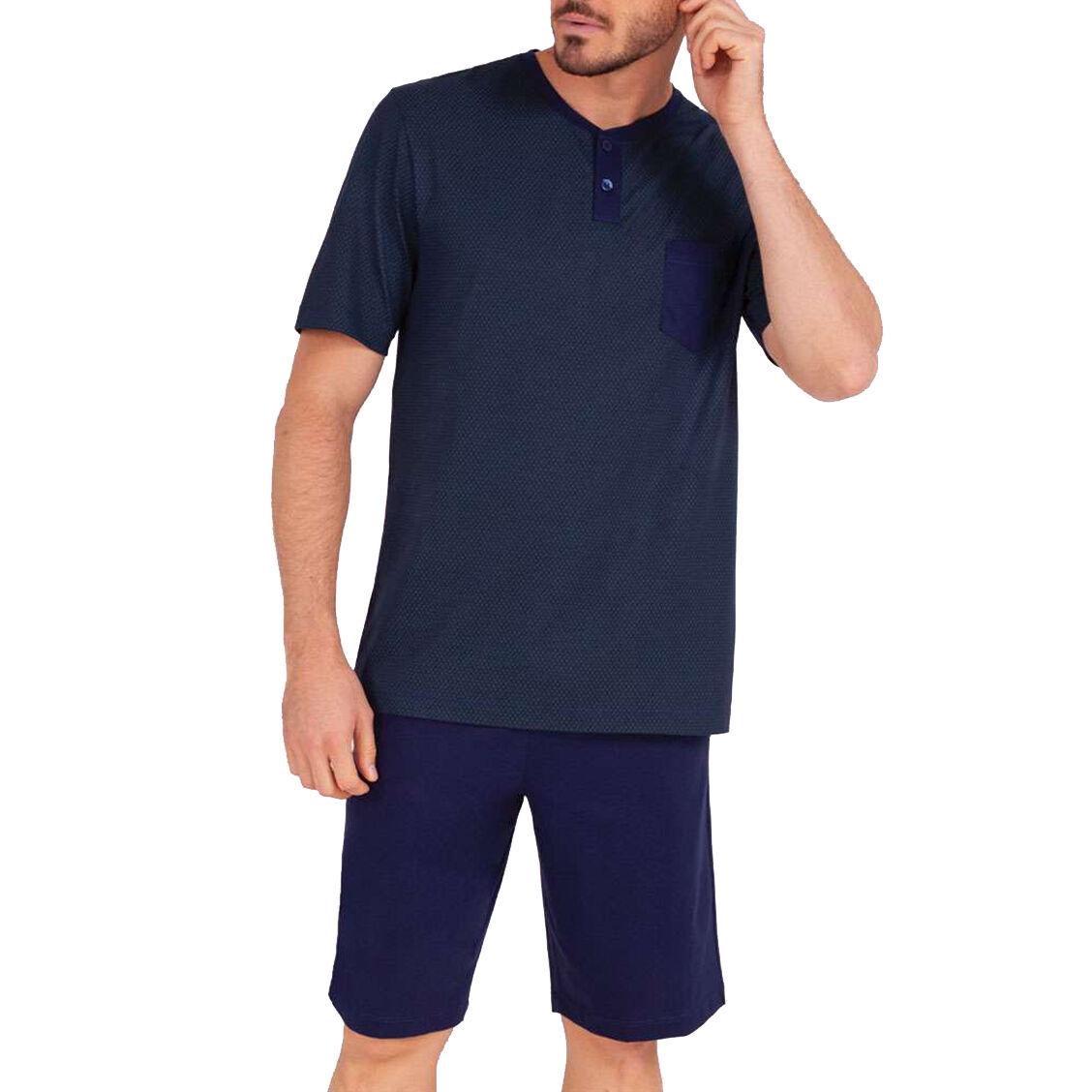 Eminence Pyjama court Eminence en coton : tee-shirt col rond bleu marine à micro motifs grains de café vert foncé et short bleu marine - BLEU MARINE -