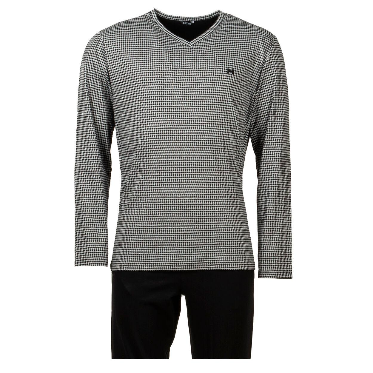 Hom Pyjama long HOM Aurélien en coton : tee-shirt manches longues col V à motif pied de poule gris et noir et pantalon noir - NOIR GRIS -