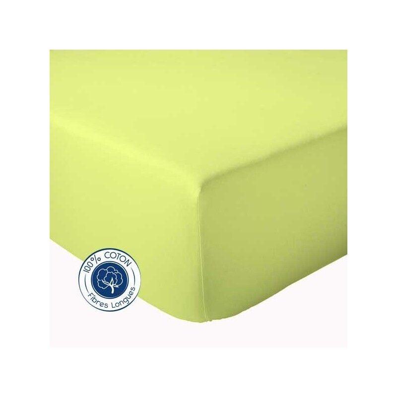 Drap Housse 100% coton Tradilinge  Anis (Couleur : ANIS, Dimension : 120X190cm)
