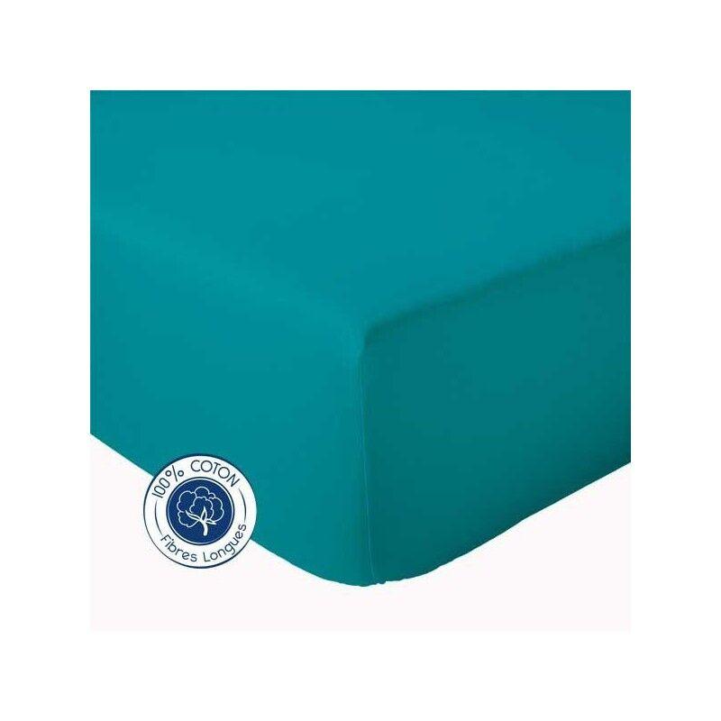 Drap Housse 100% coton Tradilinge  Bleu Paon (Couleur : BLEU PAON, Dimension : 120X190cm)