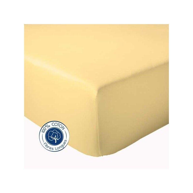 Drap Housse 100% coton Tradilinge  Paille (Dimension : 90X190cm, Couleur : PAILLE)