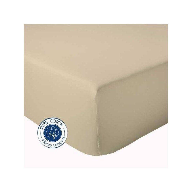 Drap Housse 100% coton Tradilinge  Seigle (Couleur : SEIGLE, Dimension : 120X190cm)