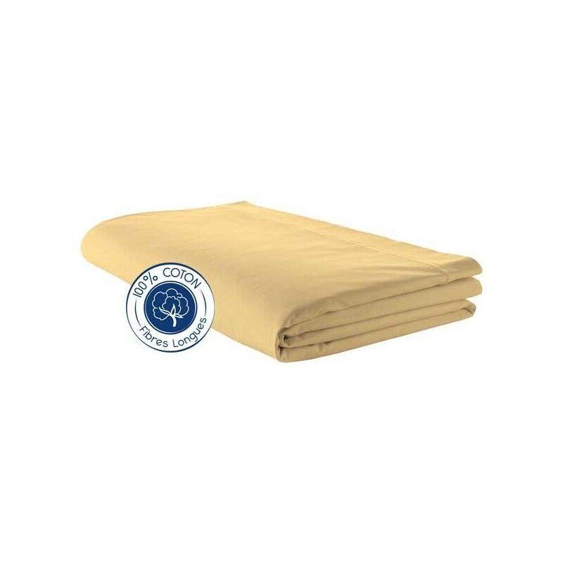 Drap plat 100% coton Paille (Dimension : 180X290cm (1 personne), Couleur : PAILLE)