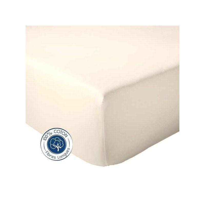 Drap Housse 100% coton Tradilinge  Naturel (Dimension : 90X190cm, Couleur : NATUREL)