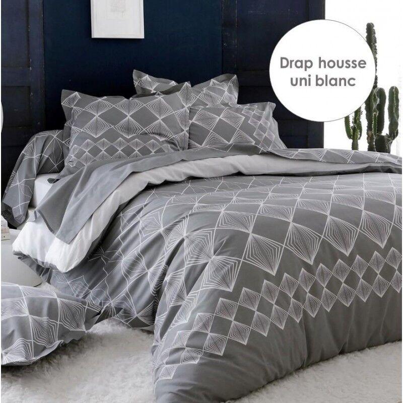 Drap Housse Tradilinge FOREVER GRIS - Coloris BLANC (Couleur : BLANC, Dimension : 90X190cm)