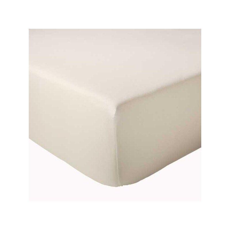 Drap Housse 100% coton Tradilinge Ecru Lavé (Dimension : 120X190cm, Couleur : ECRU LAVE)