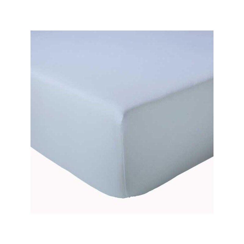 Drap Housse 100% coton Tradilinge Celeste (Dimension : 120X190cm, Couleur : CELESTE)