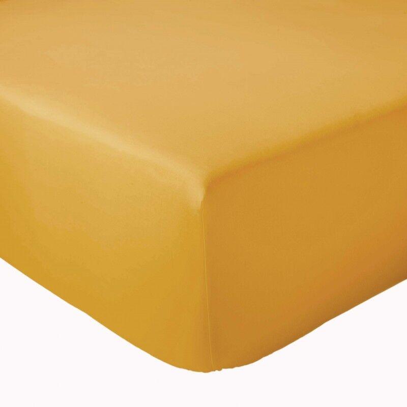 Drap Housse 100% coton Tradilinge Moutarde (Dimension : 120X190cm, Couleur : MOUTARDE)