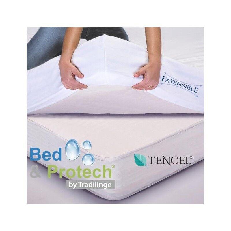 Protège matelas BED & PROTECH' Tencel - 2 en 1 (Dimension : 80 X 190/200 cm , Couleur : ARGENT)