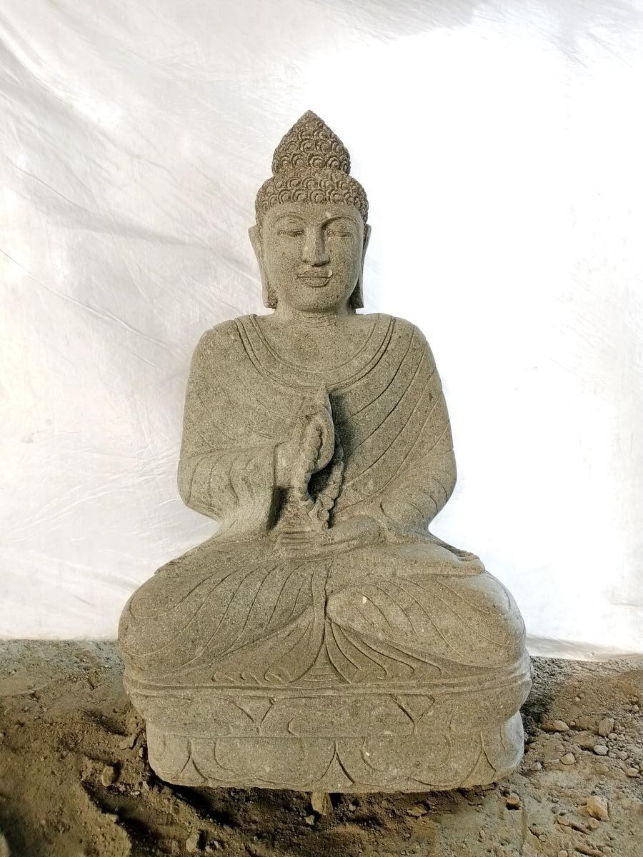 Wanda Collection Bouddha en pierre position chakra et chapelet de jardin 1m