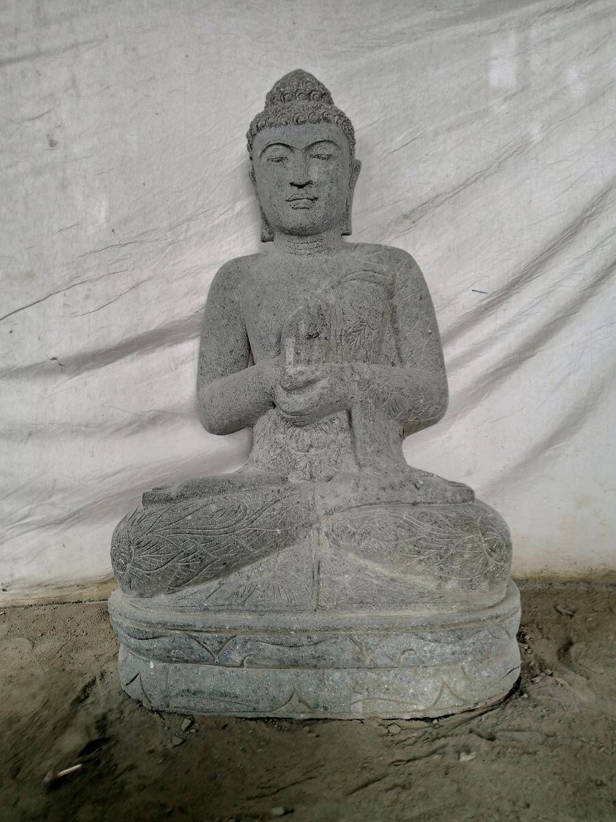 Wanda Collection Bouddha extérieur zen en pierre volcanique position méditation 100 cm