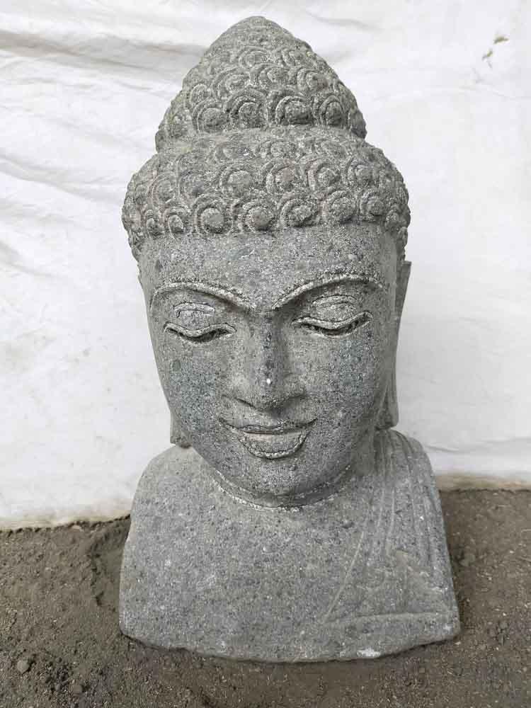 Wanda Collection Buste de bouddha en pierre volcanique deco zen 40 cm