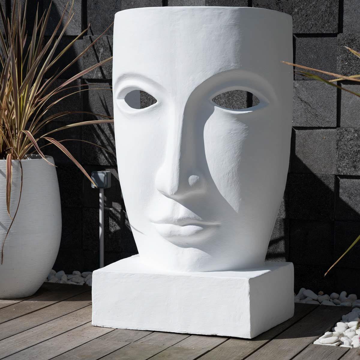 Wanda Collection Grande statue de jardin visage design blanc