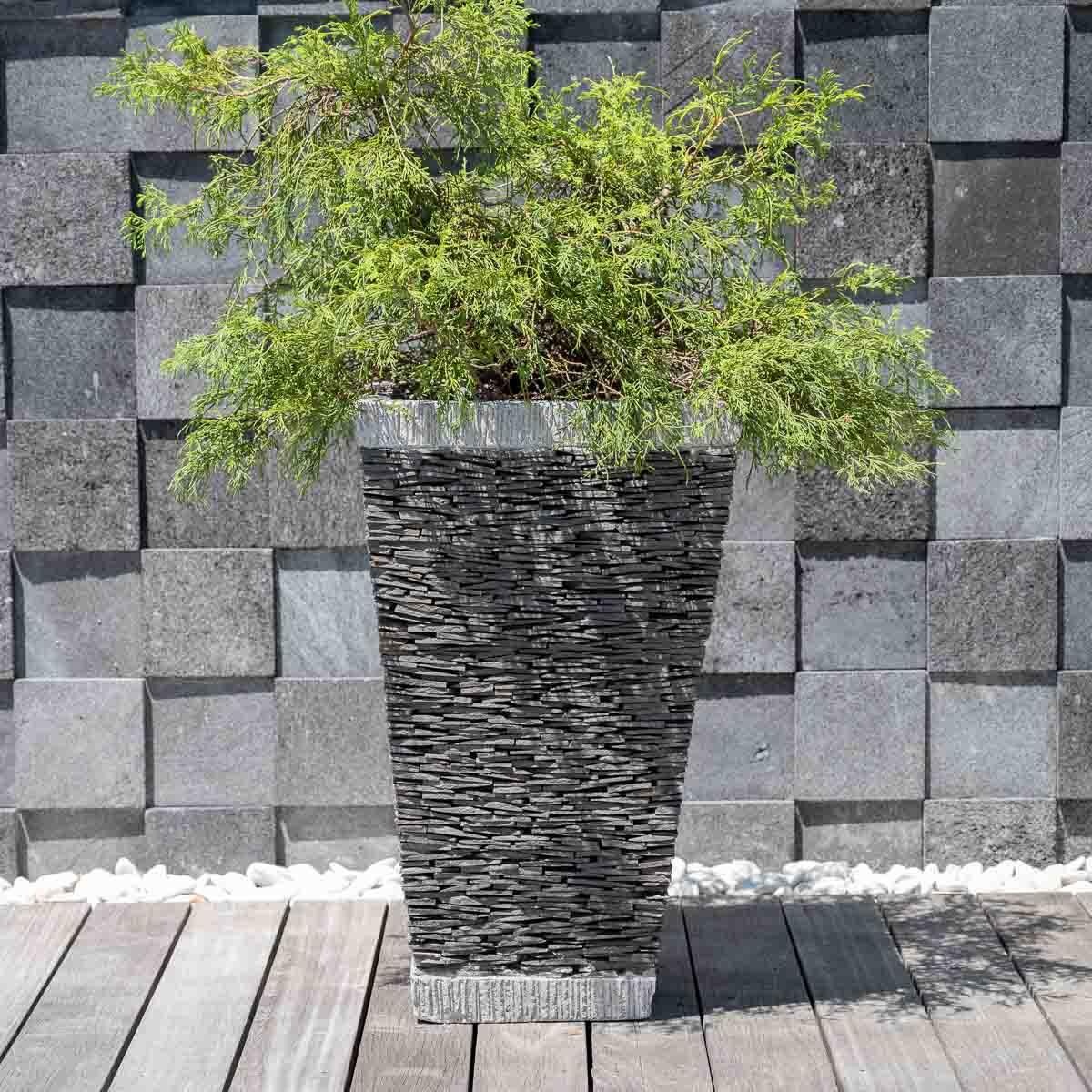 Wanda Collection Pot bac jardinière carré ardoise 80cm jardin terrasse pierre naturelle