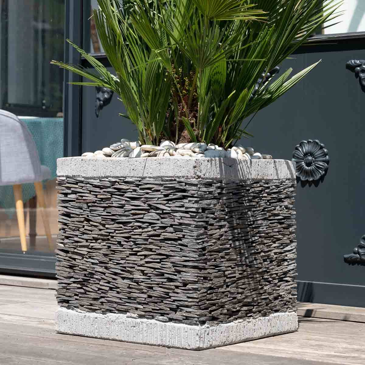 Wanda Collection Pot bac jardinière carré cube ardoise 50cm jardin terrasse pierre naturelle