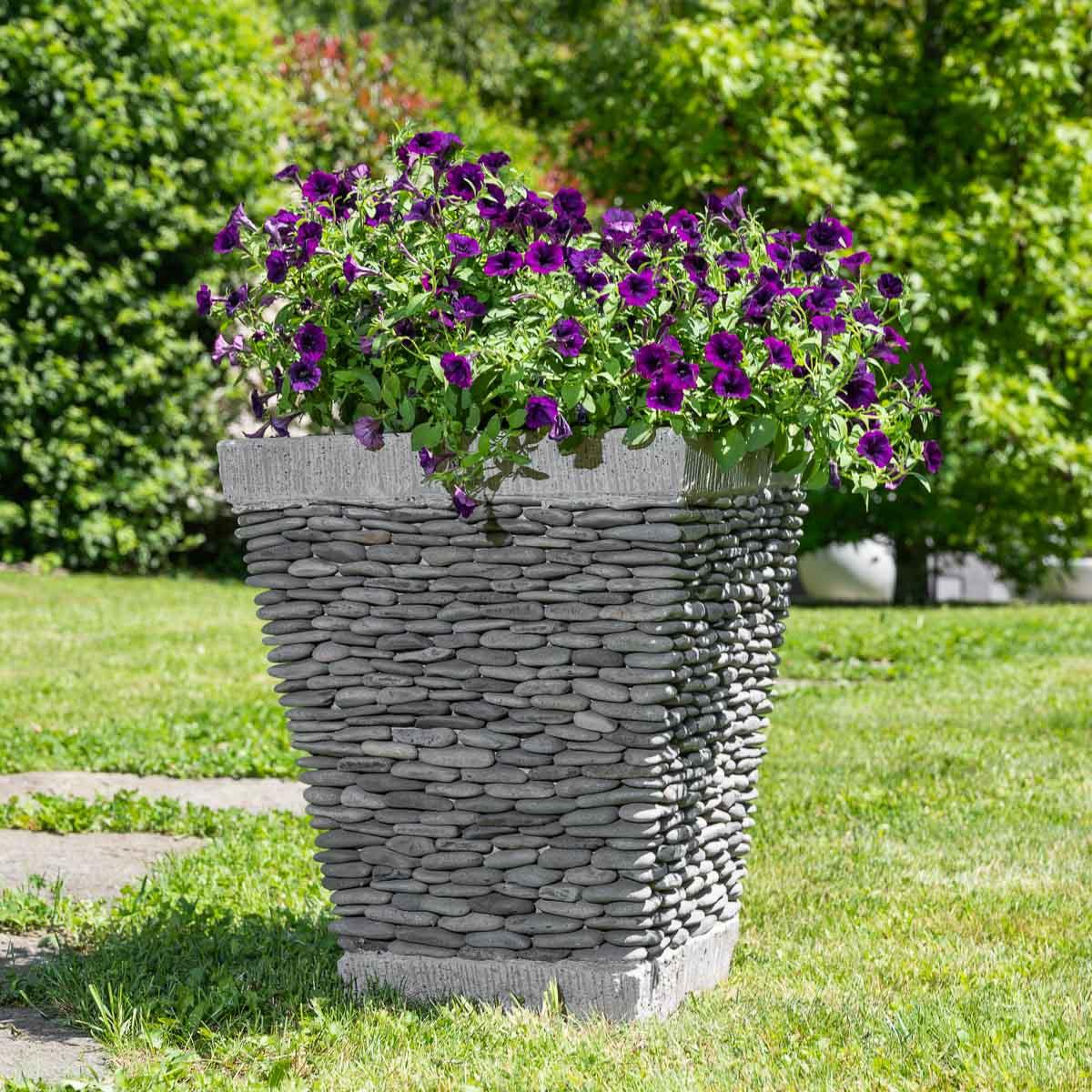 Wanda Collection Pot bac jardinière carré galet 50cm jardin extérieur zen