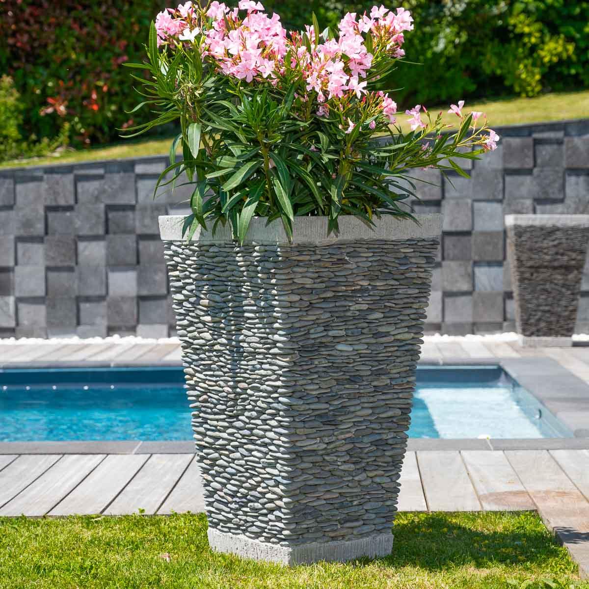 Wanda Collection Pot bac jardinière carré galet 80cm jardin extérieur zen