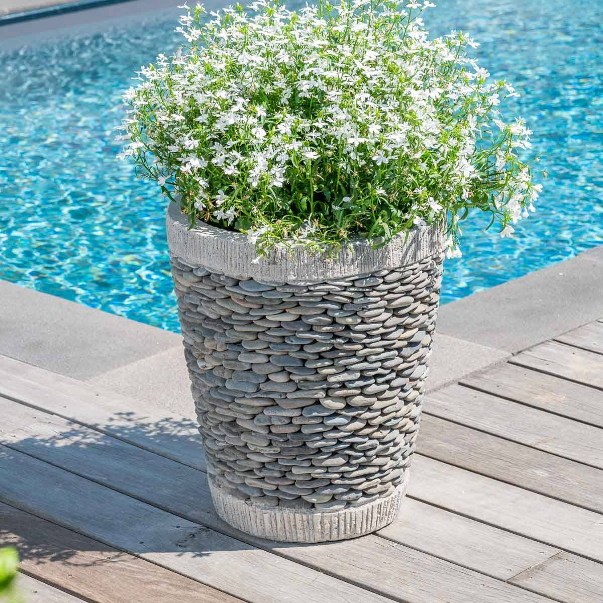 Wanda Collection Pot bac jardinière conique galet 50cm