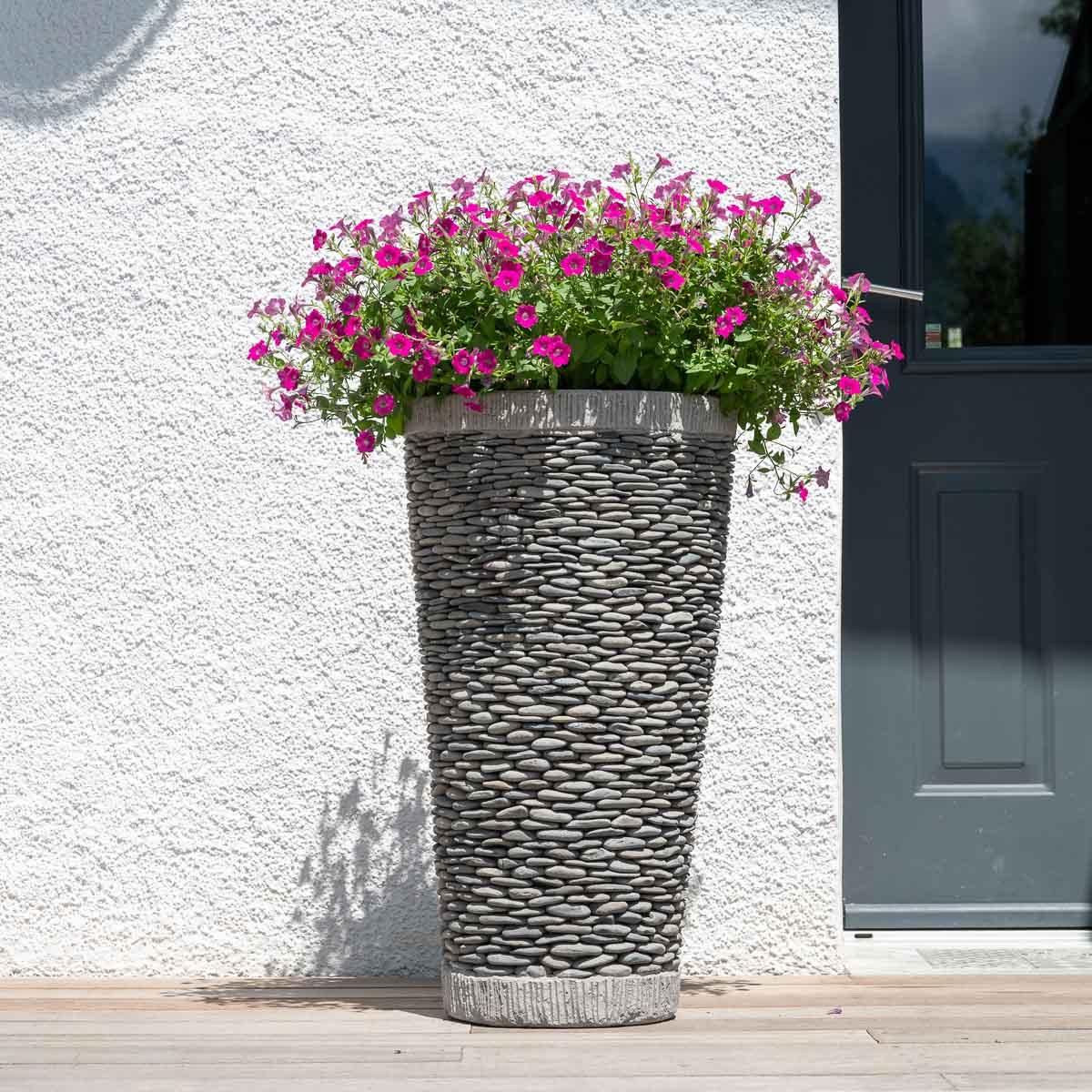 Wanda Collection Pot bac jardinière conique galet 80cm jardin extérieur zen