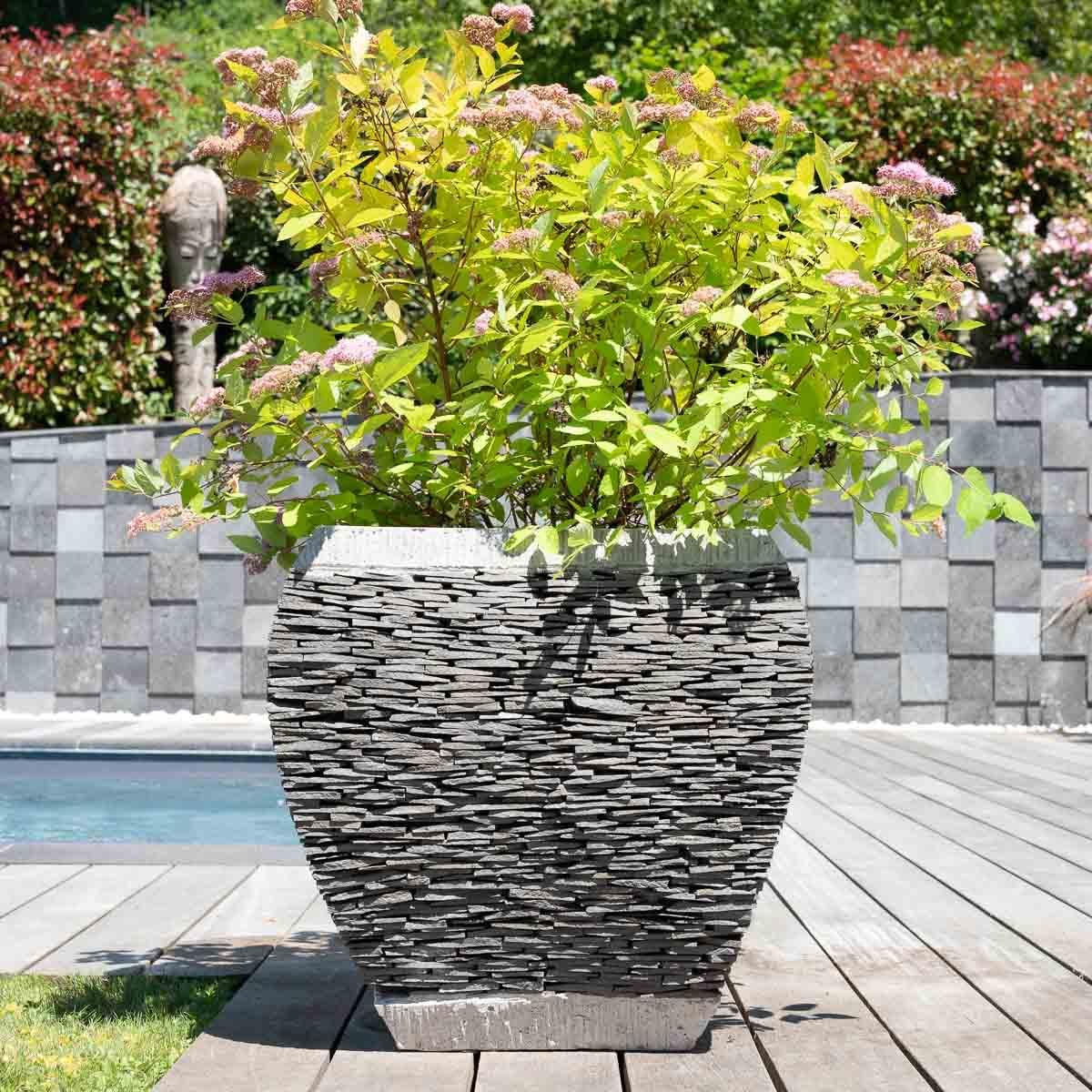 Wanda Collection Pot bac jardinière galbé ardoise 50 cm jardin pierre naturelle