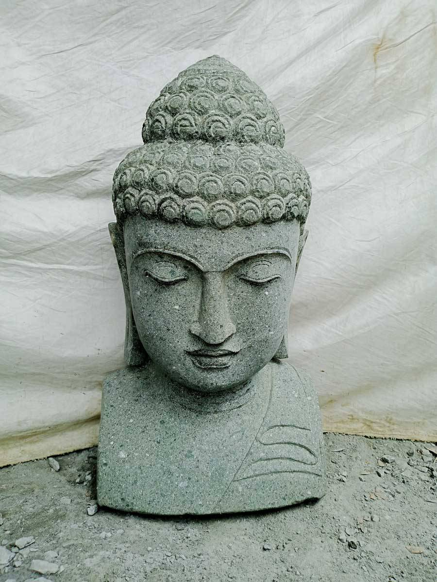Wanda Collection Statue de bouddha buste en pierre volcanique extérieur zen 70 cm