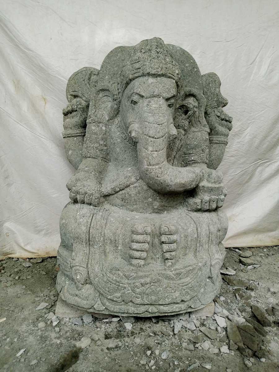 Wanda Collection Statue de jardin en pierre Ganesh extérieur 100 cm