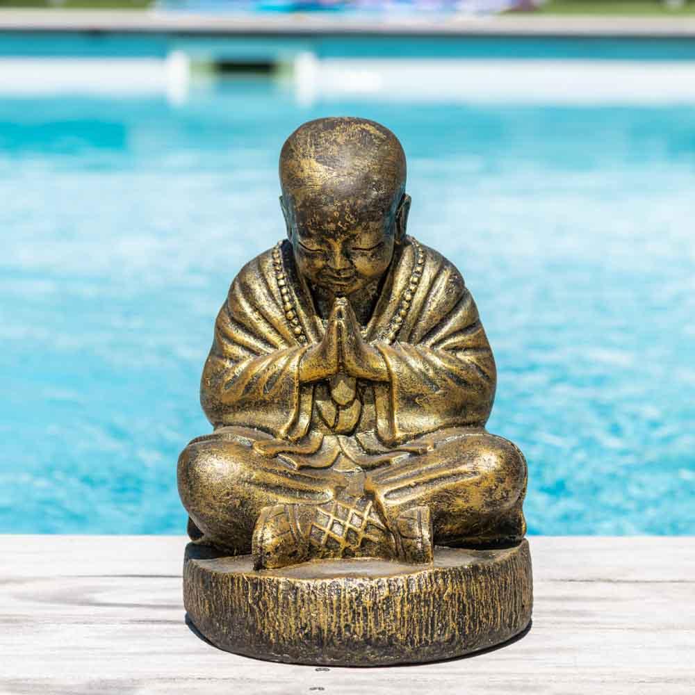 Wanda Collection Statue moine shaolin assis doré 40 cm
