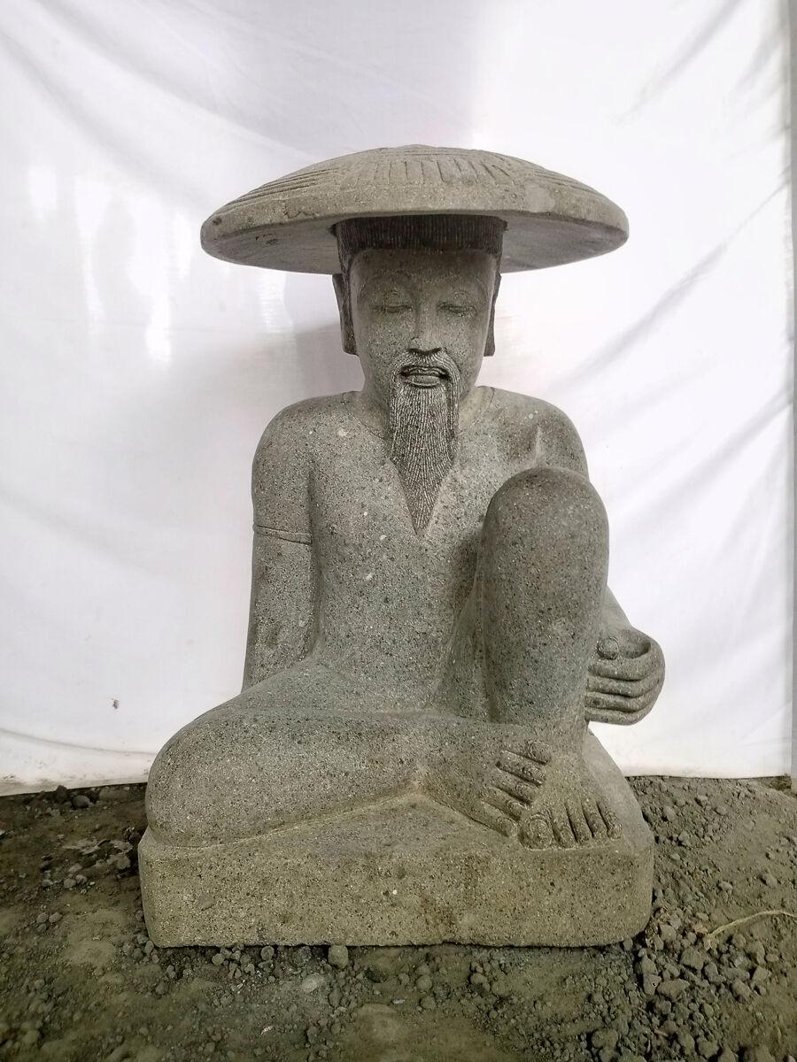 Wanda Collection Statue pêcheur japonais pierre volcanique 80 cm