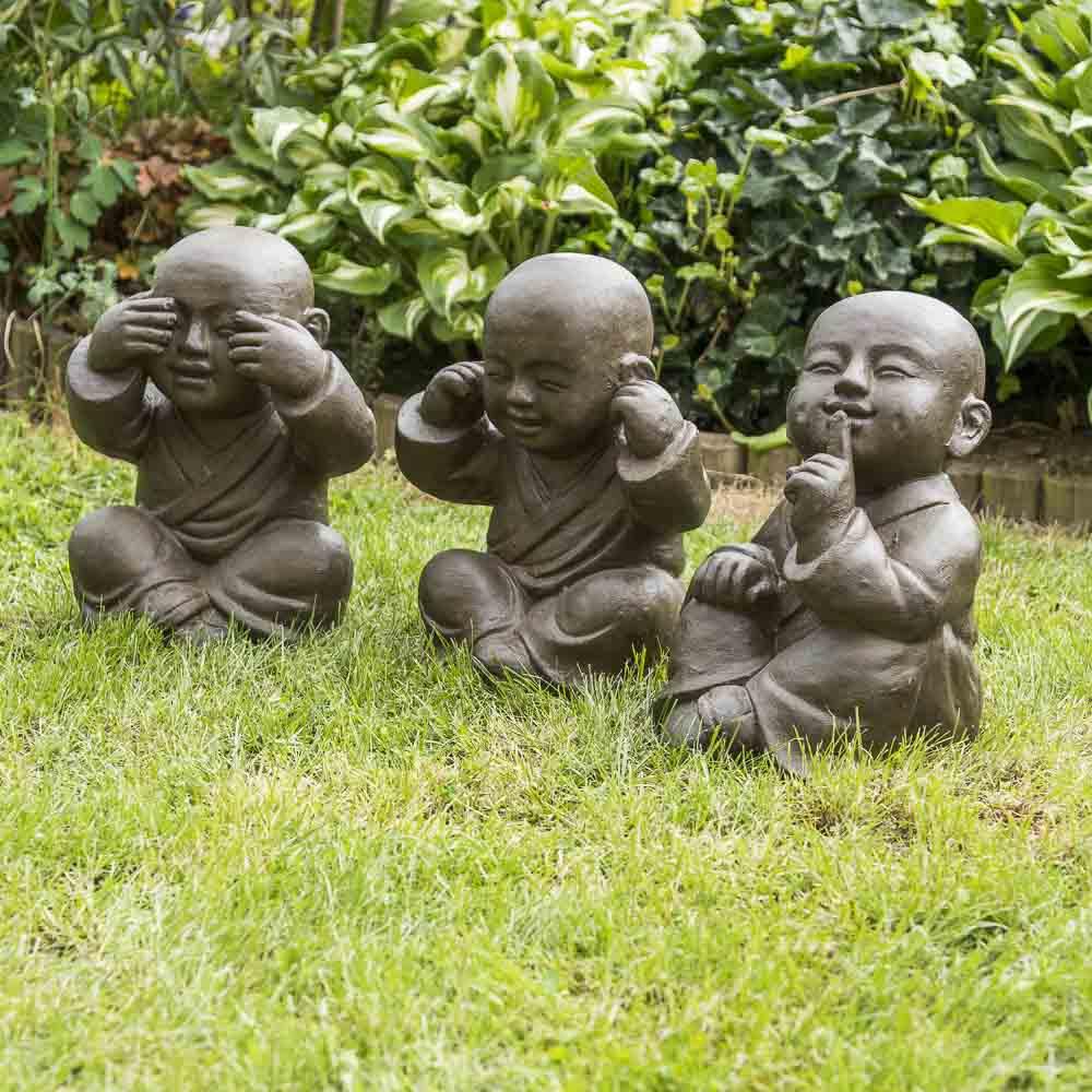 Wanda Collection Statues moine de la sagesse patiné brun antique 40 cm