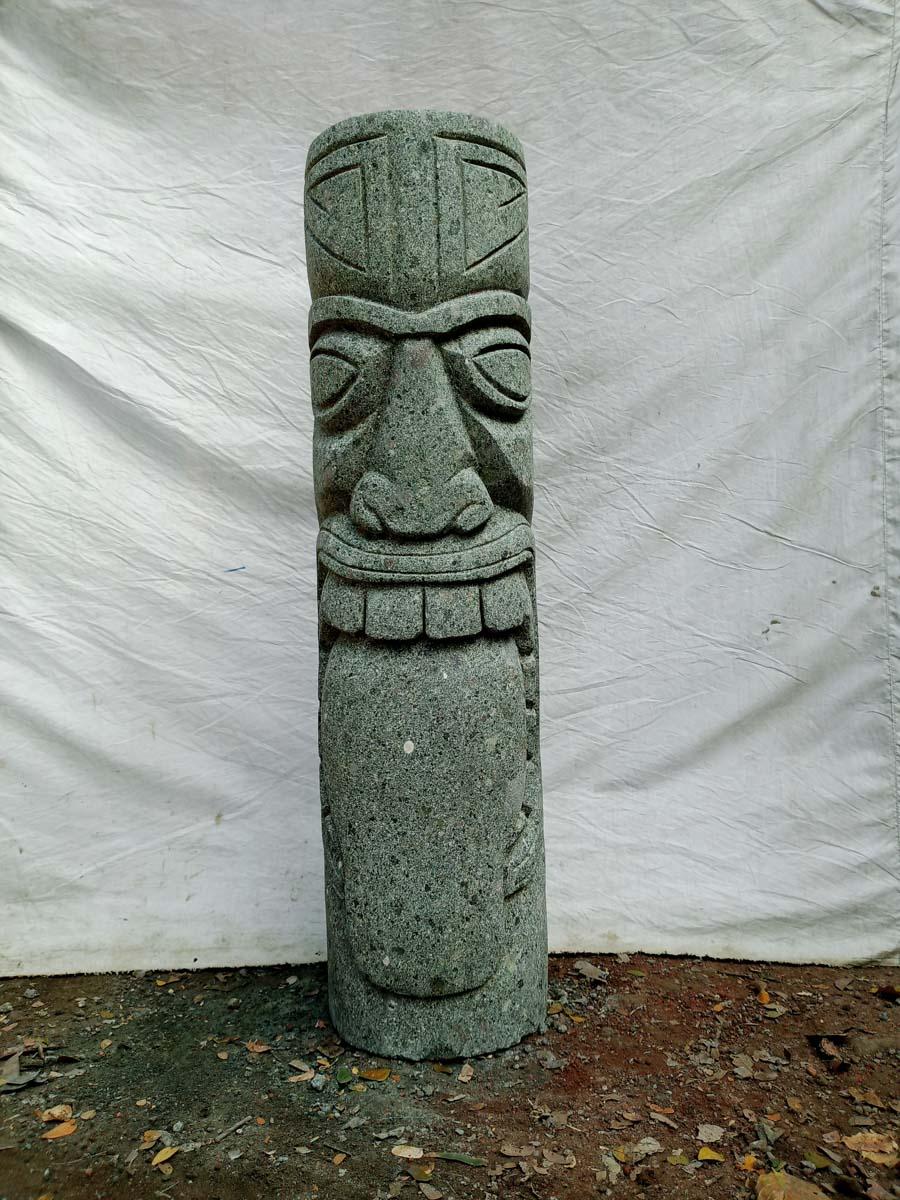 Wanda Collection Totem tiki statue en pierre volcanique jardin 1m