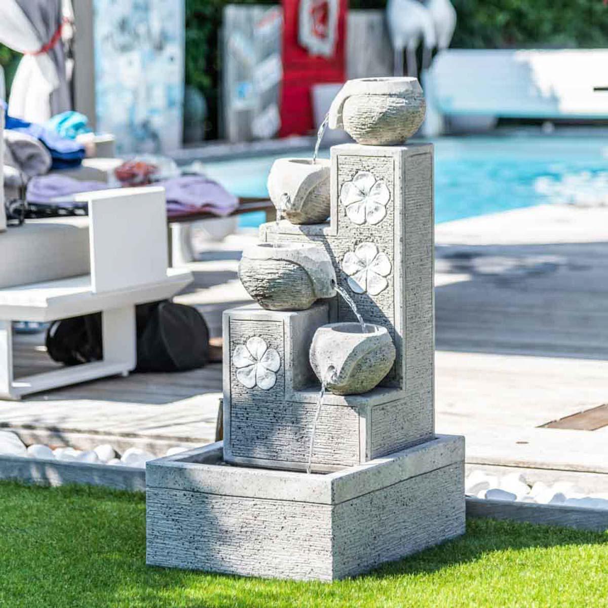 Wanda Collection Fontaine de jardin cascade 4 coupes 90 cm