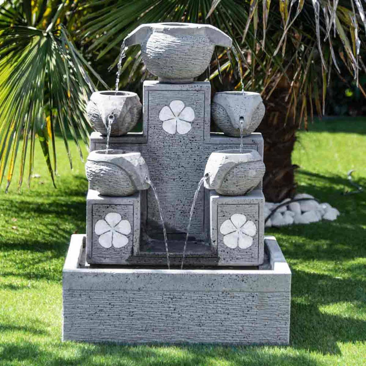 Wanda Collection Fontaine de jardin cascade 5 coupes 90cm