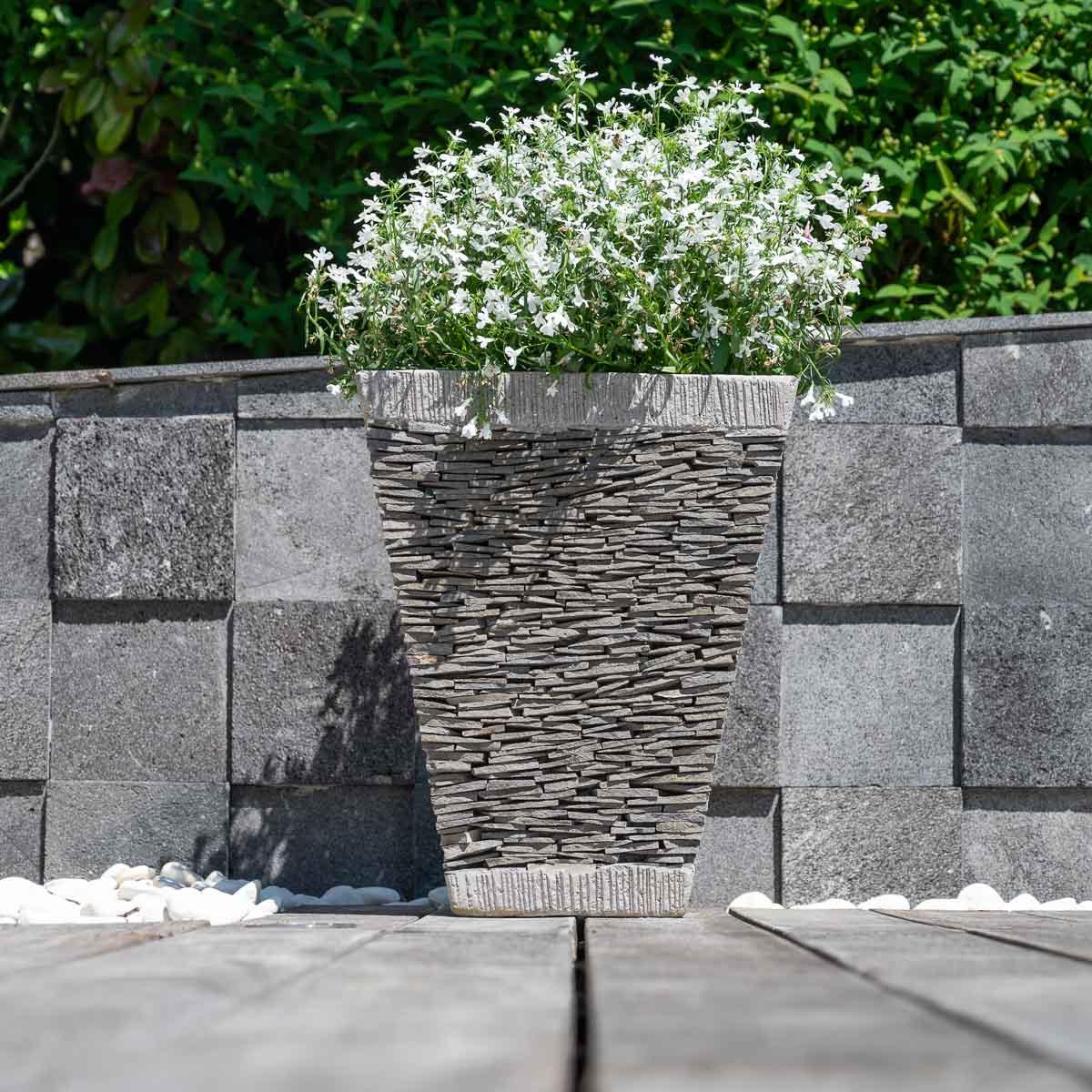 Wanda Collection Pot bac jardinière carré ardoise hauteur 50cm pierre naturelle