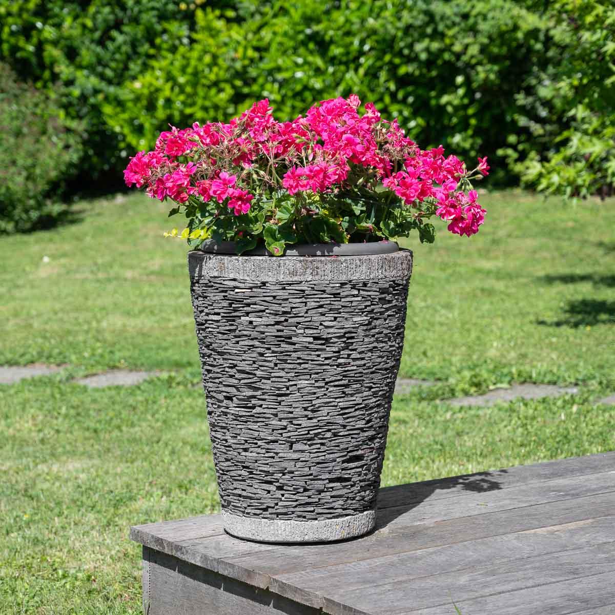 Wanda Collection Pot bac jardinière conique ardoise 50cm jardin terrasse zen