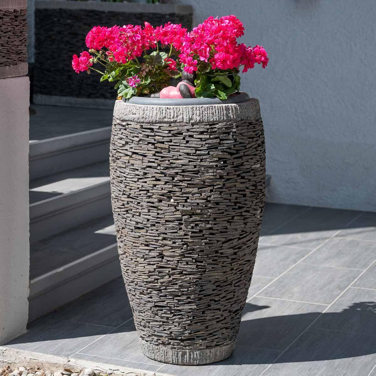 Wanda Collection Pot bac jardinière forme oeuf ardoise 80cm jardin pierre naturelle