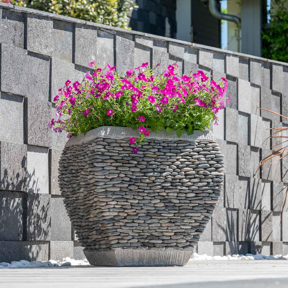 Wanda Collection Pot bac jardinière galbé galet hauteur 50cm jardin zen