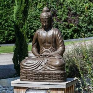 Wanda Collection Statue jardin Bouddha assis en fibre de verre position chakra 150 cm brun