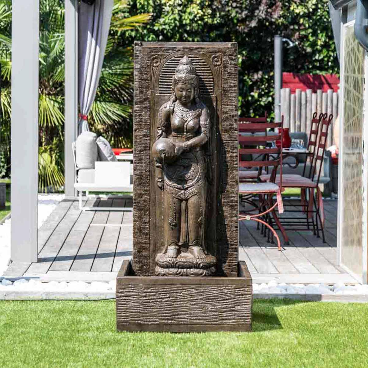 Wanda Collection Fontaine de jardin mur d'eau déesse Dewi Sri 1m 50 brun