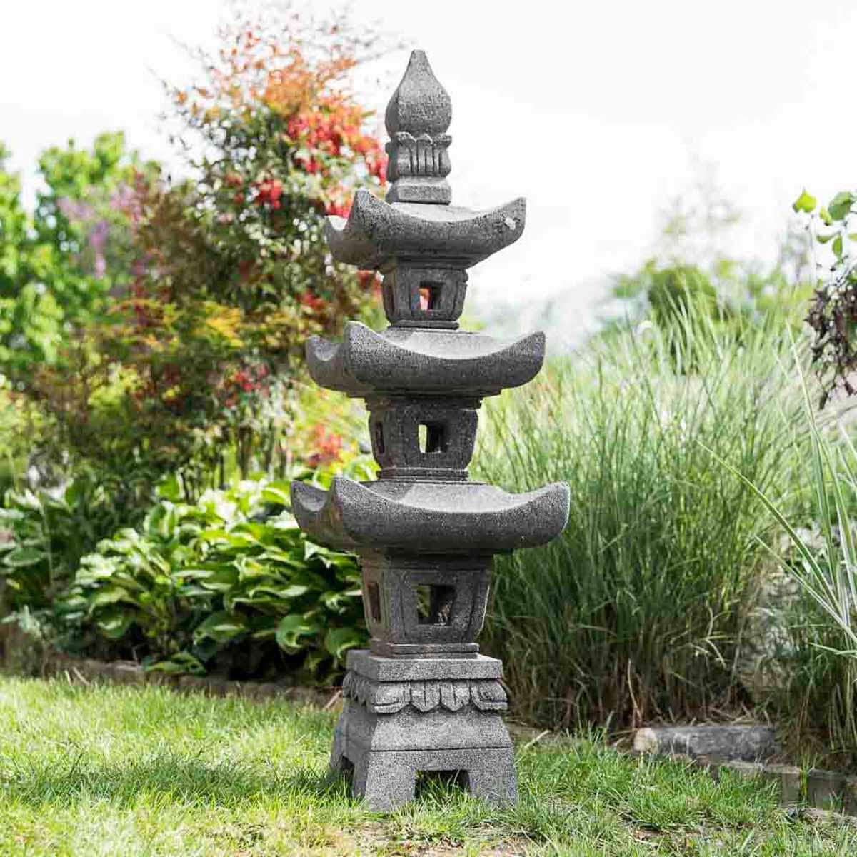 Wanda Collection Lanterne japonaise pagode en pierre de lave 1.10 m