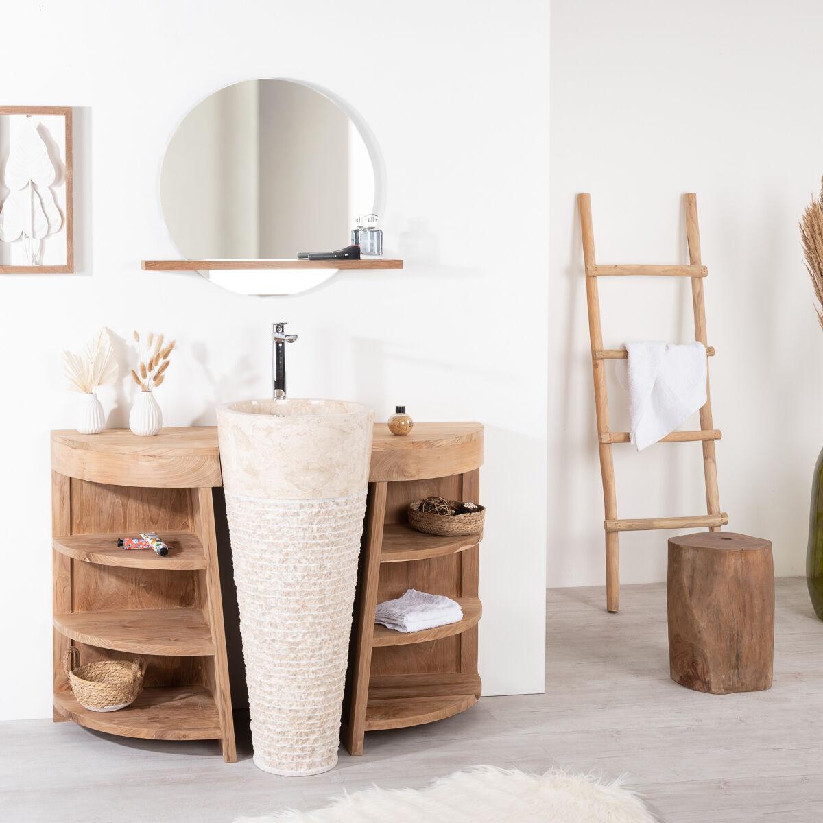Wanda Collection Meuble de salle de bain en teck Florence 120cm + vasque crème