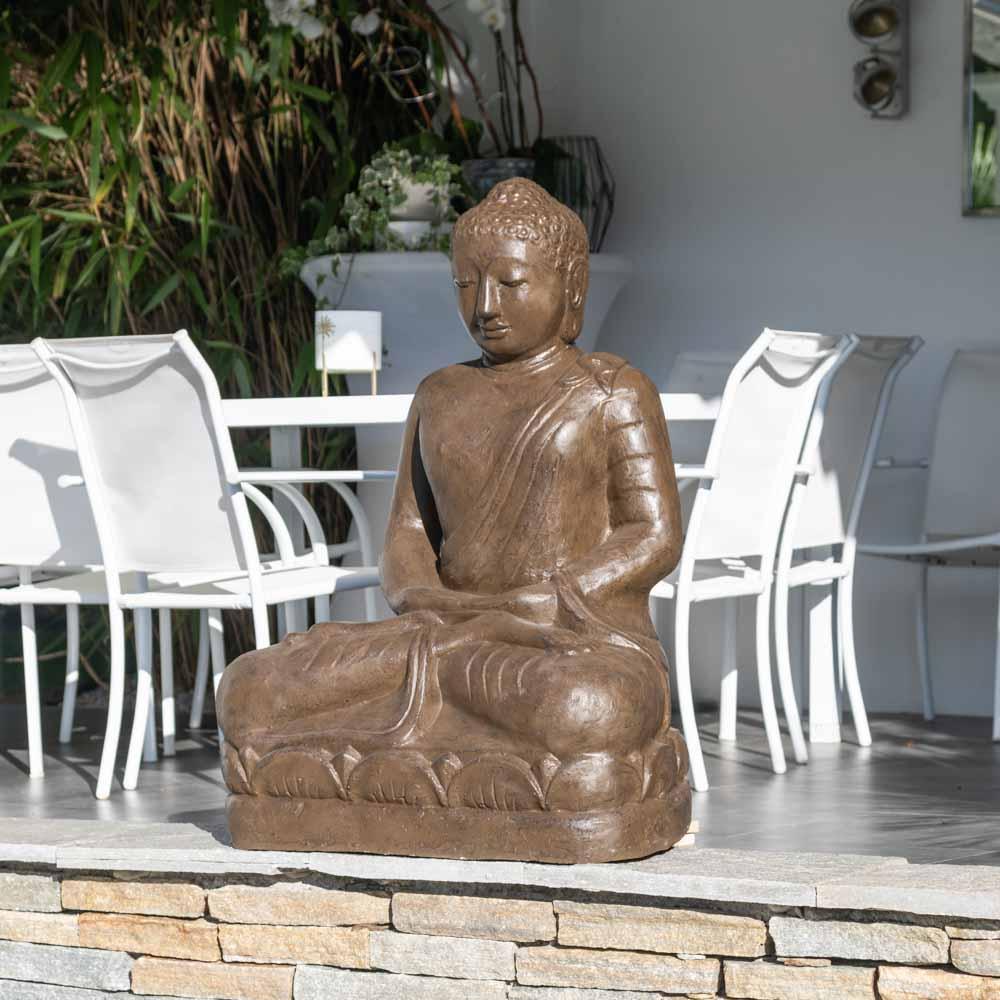 Wanda Collection Statue jardin bouddha assis en fibre position offrande 105 cm brun