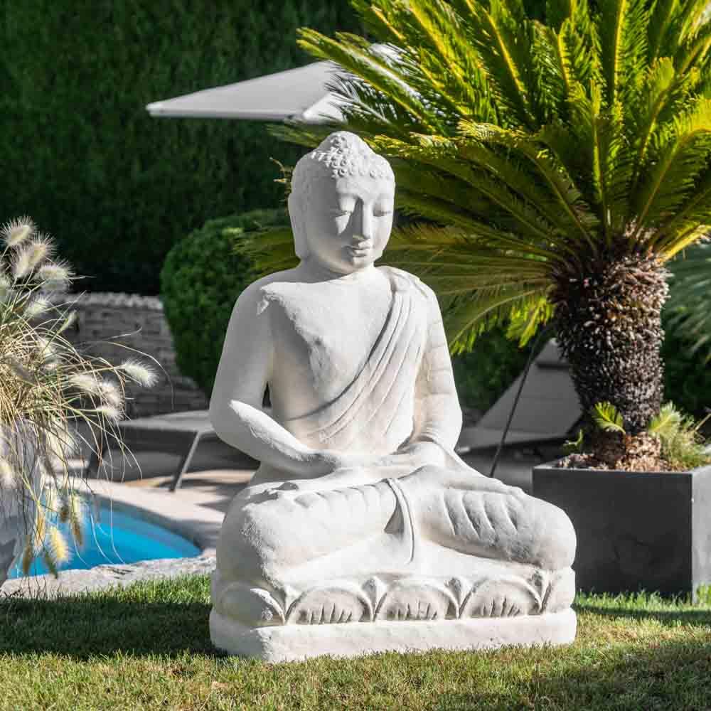 Wanda Collection Statue jardin Bouddha assis fibre de verre offrande 105cm blanc