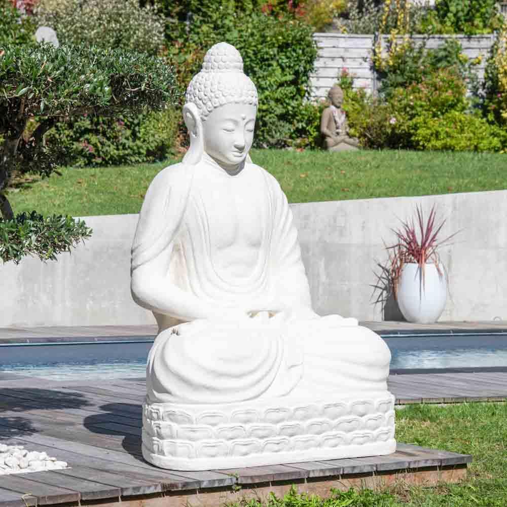 Wanda Collection Statue jardin Bouddha assis fibre de verre position chakra 150cm blanc