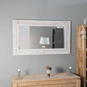 Wanda Collection Miroir Venise en bois patiné Cérusé blanc 140cm X 80cm - Publicité