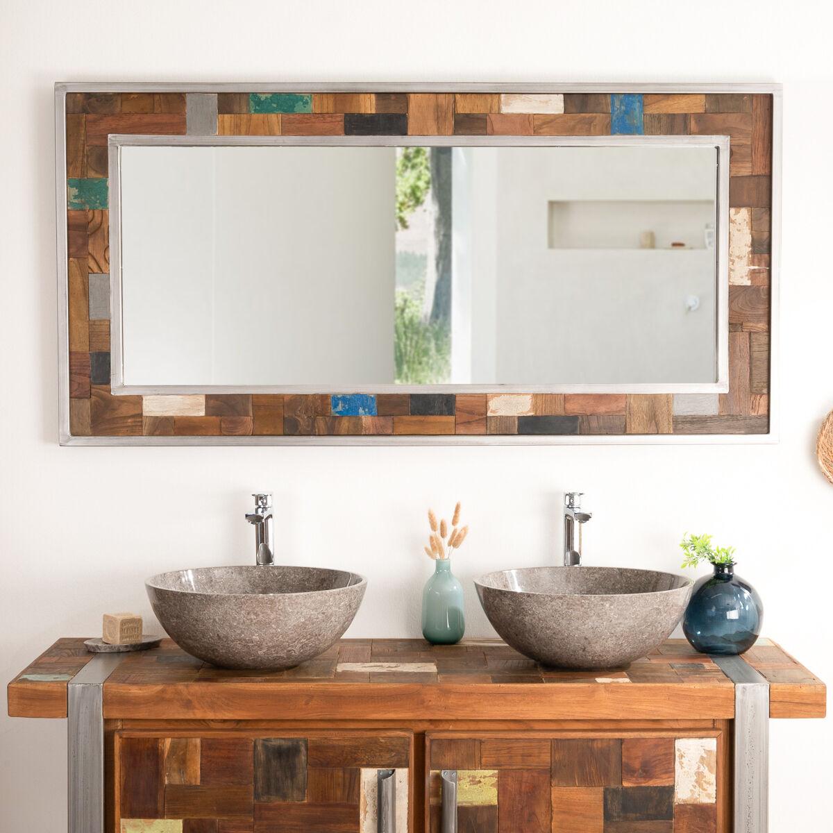 Wanda Collection Grand miroir de salle de bain factory bois métal 140x70