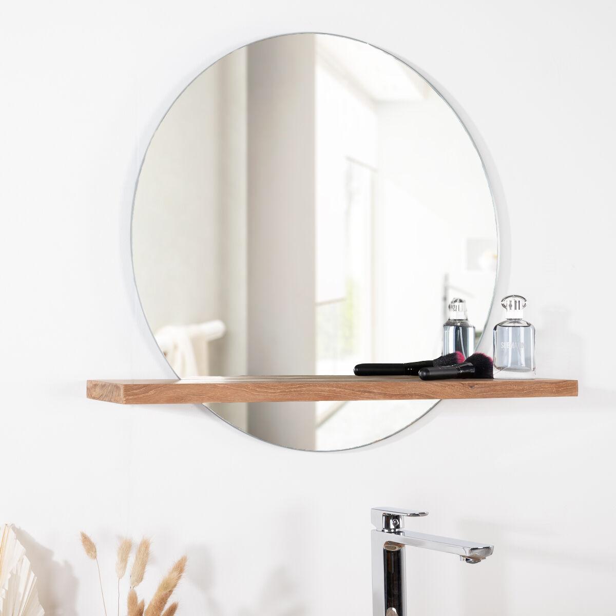 Wanda Collection Miroir Bologne de salle de bain rond en teck massif