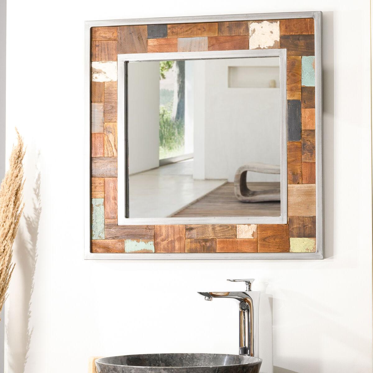 Wanda Collection Miroir de salle de bain Factory teck métal 70x70