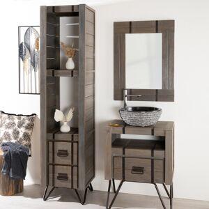 Wanda Collection Colonne de salle de bain LOFT en bois et métal 190 cm gris - Publicité