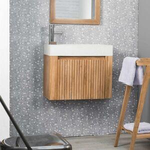 Wanda Collection Lave main et meuble suspendu en teck LUXE 60 crème - Publicité