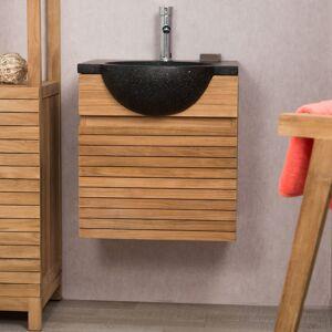 Wanda Collection Meuble avec vasque de salle de bain en teck 50 CONTEMPORAIN noir - Publicité